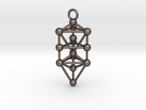 Triangular Tree of Life with Da'ath in Polished Bronzed-Silver Steel