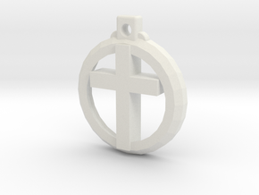 Reversible Latin Cross Pendant in White Natural Versatile Plastic