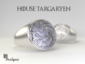 Size 7 Targaryen Ring in Natural Silver