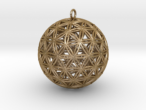 Geodesic Flower of Life sphere Flower of life 50mm in Polished Gold Steel