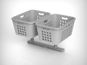 Laundry Basket 01. 1:24 Scale in White Natural Versatile Plastic