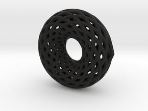 12 Turn Double Torus in Black Natural Versatile Plastic