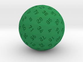 d99 Sphere Dice in Green Processed Versatile Plastic