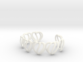 Heart Cage Bracelet (8 small hearts) in White Processed Versatile Plastic