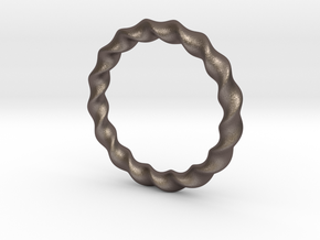 Hand Bracelet in Polished Bronzed-Silver Steel: Medium