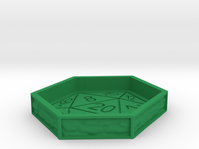 D20 Dice Tray  in Green Processed Versatile Plastic