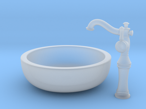 Vessel Faucet and Sink Combo in Smooth Fine Detail Plastic