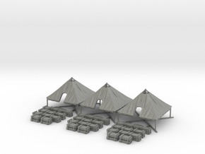 1/144 WWII US M1934 Tent Opened with Crates 3 pcs. in Gray PA12
