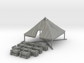 1/144 WWII US M1934 Tent Opened with Crates in Gray PA12