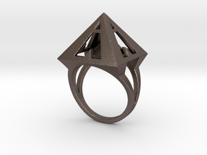 Pyramid Ring Size9 in Polished Bronzed Silver Steel