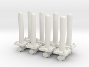 Safety Poles (x8) 1/48 in White Natural Versatile Plastic