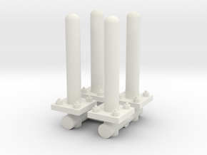 Safety Poles (x4) 1/43 in White Natural Versatile Plastic