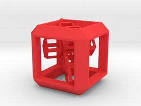 JEWELRY Cube Pendant (30 mm) with 3d-Cross inside in Red Strong & Flexible Polished