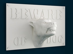 Beware of Dog Sign - 6inches in White Natural Versatile Plastic