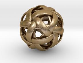 TenBandIcosahedron.stl in Polished Gold Steel