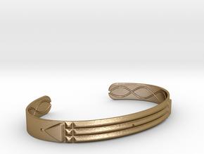 Atlantis Cuff Bracelet in Polished Gold Steel: Medium