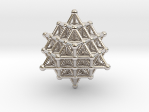 Tetrahedron atom array in Rhodium Plated Brass
