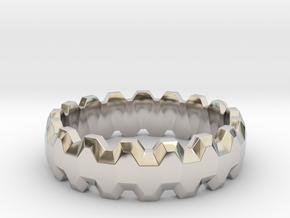 Gear Ring in Rhodium Plated Brass: 8 / 56.75