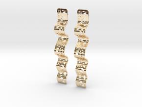 Lace Slim Ribbon Earrings in 14k Gold Plated Brass
