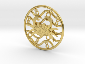 Zodiac -Water Signs- Cancer  in Polished Brass