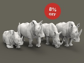 White Rhinoceros Set 1:87 four different pieces in Smooth Fine Detail Plastic