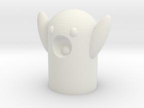 Ничоси (surprised ghost) pencil topper in White Natural Versatile Plastic