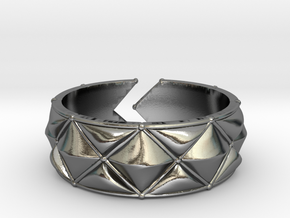 Cushion band ring [sizable ring] in Polished Silver