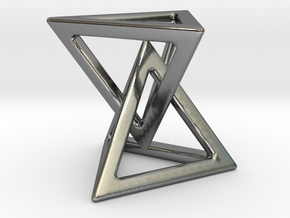 Double pyramid [pendant] in Polished Silver (Interlocking Parts)