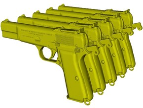 1/12 scale FN Browning Hi Power Mk I pistols B x 5 in Smooth Fine Detail Plastic