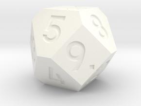 d14 Cuboctahedron Variant - Jumbo in White Processed Versatile Plastic