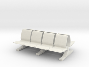 8 Waiting Room Seats 1/48 in White Natural Versatile Plastic