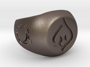 FFXIV DNC Signet Ring in Polished Bronzed-Silver Steel: 6 / 51.5