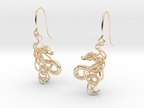 Eastern Dragon Earring in 14k Gold Plated Brass