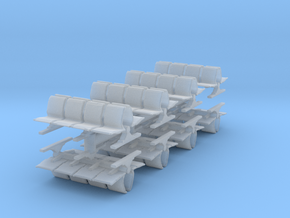 8 Waiting Room Seats (x8) 1/200 in Smooth Fine Detail Plastic