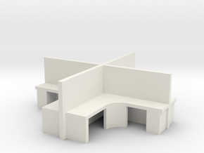 2x2 Office Cubicle 1/72 in White Natural Versatile Plastic