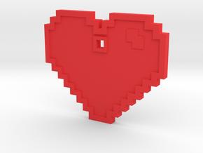 Pixel Art Heart Pendant in Red Processed Versatile Plastic