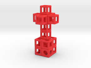 JEWELRY Pendant: Cross with Cube-Base (48 x 24mm) in Red Processed Versatile Plastic