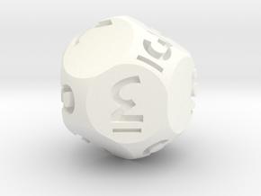 Dozenal dƐ [d11] in White Processed Versatile Plastic