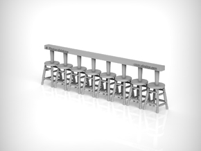 Stool 03. 1:48 Scale x8 Units in Smooth Fine Detail Plastic