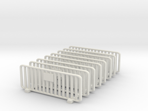 Crowd Control Barrier (x8) 1/76 in White Natural Versatile Plastic