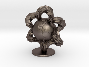 Earth enters a Wormhole in Polished Bronzed Silver Steel
