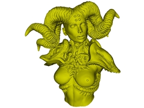 1/9 scale Devil's priestess with horns bust in Smooth Fine Detail Plastic