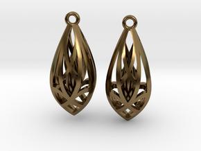 Teardrop shaped earrings in Polished Bronze