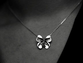 Lucky Charm four Clover Butterfly Pendant Necklace in Polished Silver