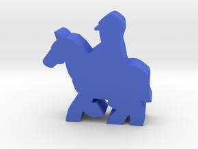 Civil War cavalry meeple, running horse in Blue Processed Versatile Plastic