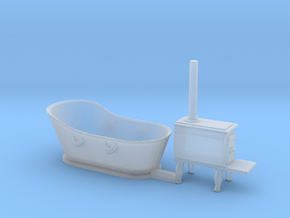 HO Scale Copper Bathtub and Iron Stove in Smooth Fine Detail Plastic