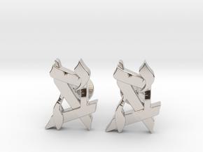 Custom Monogram Cufflinks in Platinum
