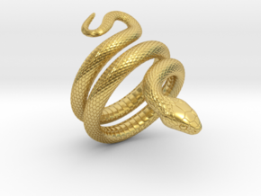 Snake Ring_R02 in Polished Brass: 8 / 56.75