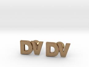 Monogram Cufflinks DV in Natural Brass