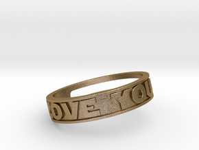 """I Love You""&""I know"" ring (med.sizes 16mm to 22m) in Polished Gold Steel"